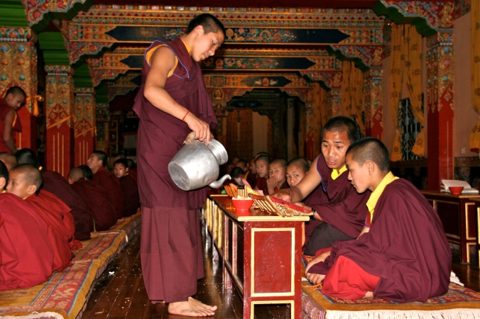 Sharing in Butter Tea Ceremony at Sherab Ling Monastery